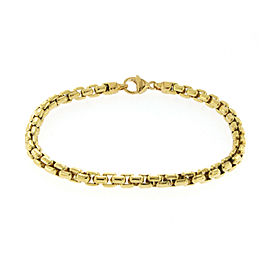 "Authentic Tiffany & Co. 18K Yellow Gold 5mm Box Link Bracelet Size 8"" U25"