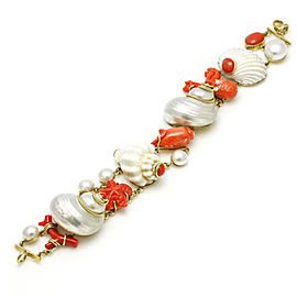 MAZ 18k Yellow Gold Coral Shell Pearl Fashion Bracelet