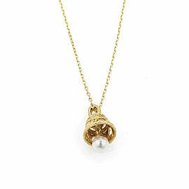 Mikimoto Pearl Filigree Bell 18k Yellow Gold Pendant