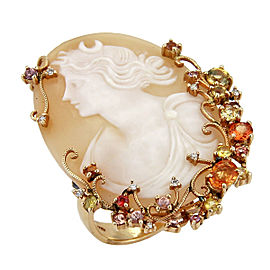 Diamonds & Gemstone Large Cameo 14k Yellow Gold Ring