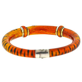 SOHO Enamel Tiger Print Diamond Orange Bangle Bracelet