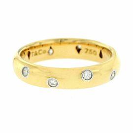 Auth Tiffany & Co. 18K Yellow Gold Platinum Diamonds Etoile Band Ring 7.25