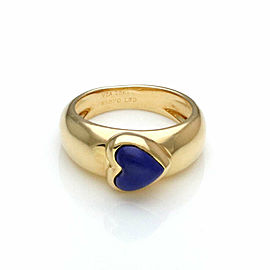 Van Cleef & Arels Lapis 18k Yellow Gold Heart Dome Band Ring Size 5.5