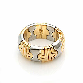 Bvlgari Parentesi 18k Yellow Gold & Steel 9.5mm Wide Dome Cuff Band Ring Size 7
