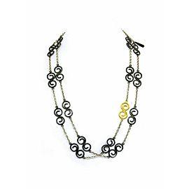 Gurhan Vortex Dark & White Silver 24k Gold Spiral Link Chain Necklace