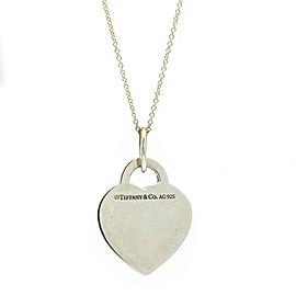 Tiffany & Co. Sterling Silver Blue Enamel Heart Pendant Necklace
