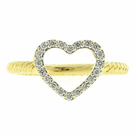 David Yurman 18K Yellow Gold Diamond Cable Classics Heart Ring 6
