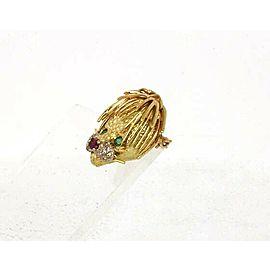 Estate Diamond Emerald & Ruby 18k Gold Lion Head Pendant Pin