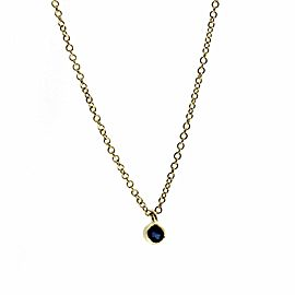 "EF Collection 14K Yellow Gold Bezel Blue Sapphire Necklace 16""-18"" » U210-1"