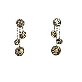 John Hardy 18k Yellow Gold Sterling Dot Design Triple Dangle Earrings