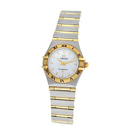 Lades Omega Constellation 795.1203 Full Bar 18K Gold 22MM MOP Quartz Watch