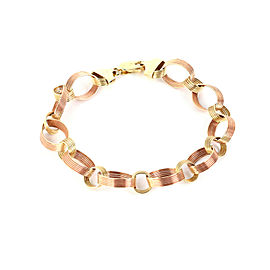 Fancy 14k Yellow & Pink Gold Textured Grooved Link Bracelet