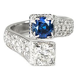 14K White Gold 1.26Ct H SI2 Diamond 1.18Ct Sapphire Band Ring Size 6.5