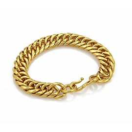 "Hefty 24k Gold 1/2"" Wide Cuban Link Chain Bracelet 111 grams"