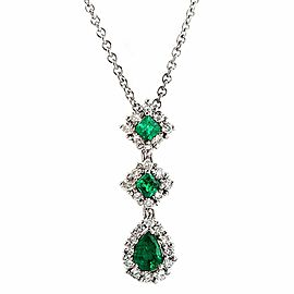 0.62 CT Diamonds 0.71 CT Colombian Emerald 14K White Gold Drop Necklace 16""