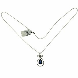 0.30 CT Diamonds 2.99 CT Blue Sapphire 14K White Gold Drop Necklace 18""