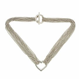 "Tiffany & Co. Sterling Silver Heart Multi Strand Mesh Toggle Necklace 16"""