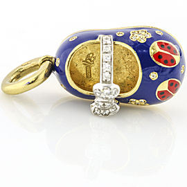 Aaron Basha 18k Yellow Gold Diamond Blue Enamel Ladybug Shoe