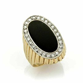 Diamond & Onyx Oval Fluted Design 14k Two Tone Gold Ring