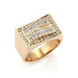 Men's 1.85ct Diamond 14k Rose Gold Rectangular Fancy Top Ring