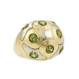 Bvlgari Peridot 18k Two Tone Gold Dome Ring