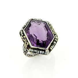 Art Deco Amethyst & Seed Pearls 18k Two Tone Open Floral Filigree Ring