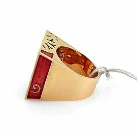 Nouvelle Bague Diamond Enamel 18k Pink Gold Square Floral Ring