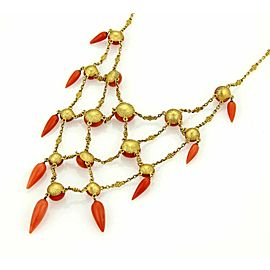 Victorian 21k Yellow Gold Cabochon & Spear Coral Drape Necklace