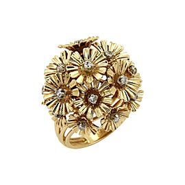 Diamond Movable Cluster Spring Flower Ring in 18k Yellow Gold