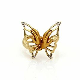 Magerit Diamond 18k Yellow Gold Hand & Butterfly Ring Size 7