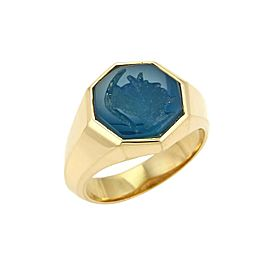 David Yurman Agate Intaglio 18k Yellow Gold Octagon Ring Size 10.5