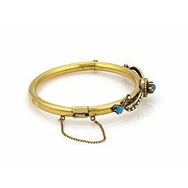 Vintage Turquoise & Seed Pearls 14k Yellow Gold Fancy Bangle Bracelet