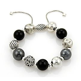 David Yurman Elements Black Onyx & Hematite Sterling Silver Bead Bracelet