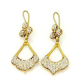 Vintage 22k Yellow Gold Seed Pearl Dangle Drop Earrings