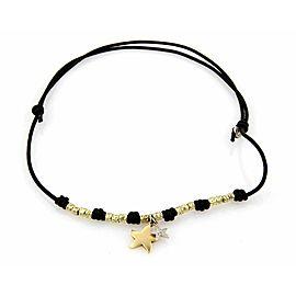 Dodo 18k Yellow Gold Diamond Double Star Charm Silk Cord Necklace
