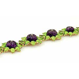 Estate 18k Gold Diamond Amethyst Peridot & Green Enamel Floral Link Bracelet