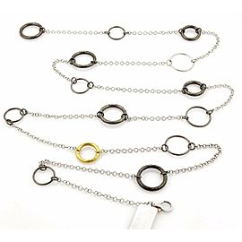 Gurhan HOOPLA Dark & White Sterling & 24k Gold Circle Necklace 50""