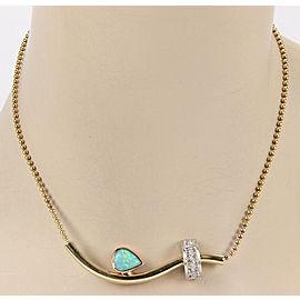 Estate Australian Opal and Diamonds 14k Three Tone Gold Necklace