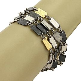 Gurhan Contour Sterling & 24k Gold Rectangle Bars Multi-Strand Bracelet