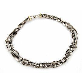 David Yurman 1.00ct Diamonds Silver & 18k Gold Multi-Strand Box Chain Necklace