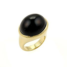 Tiffany & Co. Peretti Cabochon Black Jade 18k Yellow Gold Ring Size 7