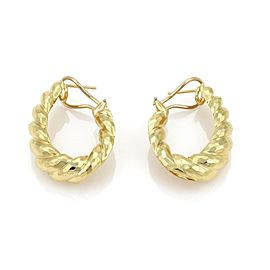Henry Dunay Hammered Shell 18k Gold Oval Hoop Clip Post Earrings