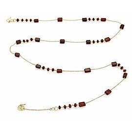 Vintage Garnet 18k Yellow Gold Long Chain Necklace