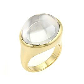 Tiffany & Co. Peretti Rock Crystal Cabochon 18k Yellow Gold Ring Size 8