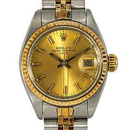 Rolex Date 6917 Womens Automatic Watch Two Tone SS W/Papers 26mm