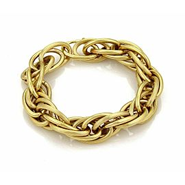 Retro Large 18k Yellow Gold Multi Oval Grooved Links Bracelet