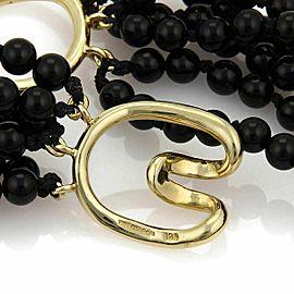 Tiffany & Co. 18k Yellow Gold Bow Pendant Multi-Strand Onyx Bead Necklace