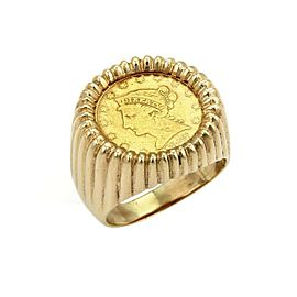 Estate Men's 22k Liberty Coin 14k Yellow Gold Fluted Design Ring