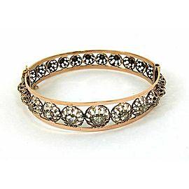 Victorian 1.20ct Rose Cut diamonds Bangle Bracelet in Rose Gold