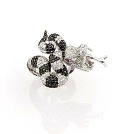 Massive 5.00ct Black & White Diamonds 18k Gold Coiled Rattle Snake Ring